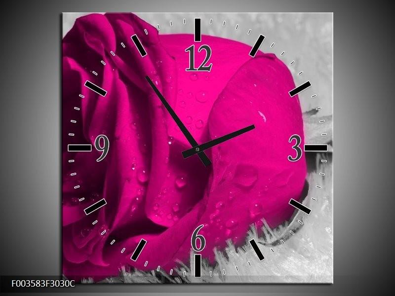 Wandklok op Canvas Roos   Kleur: Roze, Grijs   F003583C