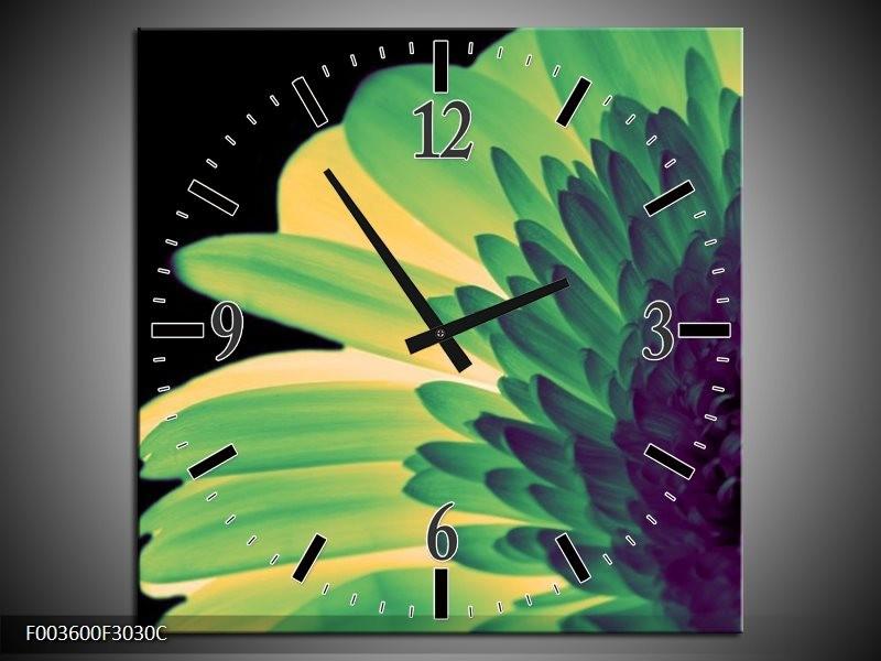 Wandklok op Canvas Bloem   Kleur: Groen, Geel, Zwart   F003600C