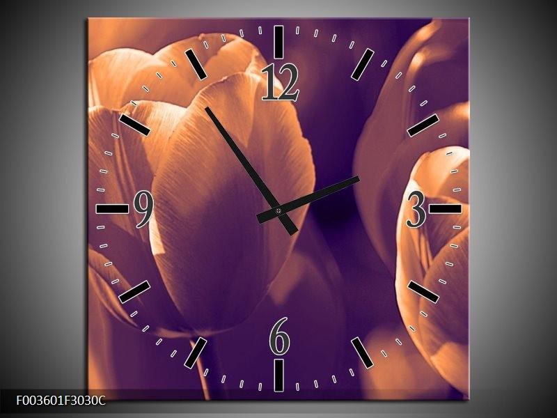 Wandklok op Canvas Tulp | Kleur: Bruin, Wit | F003601C