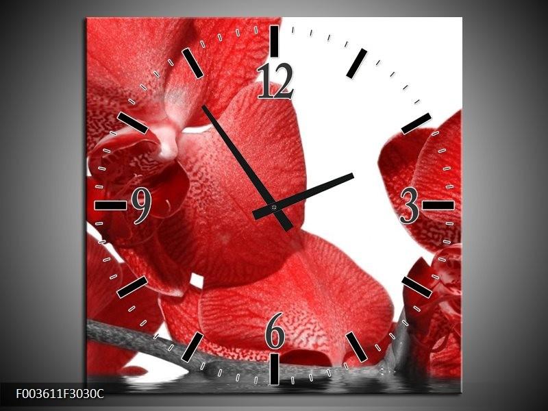 Wandklok op Canvas Orchidee | Kleur: Rood, Wit | F003611C