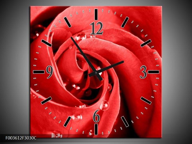 Wandklok op Canvas Roos | Kleur: Rood, Wit | F003612C