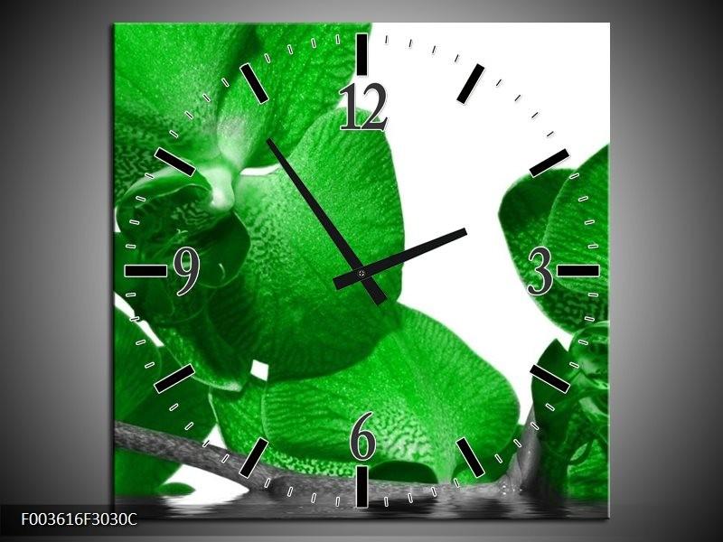 Wandklok op Canvas Orchidee | Kleur: Groen, Wit, Grijs | F003616C