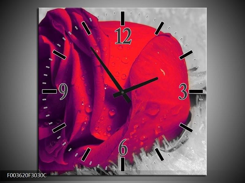 Wandklok op Canvas Roos | Kleur: Rood, Grijs | F003620C