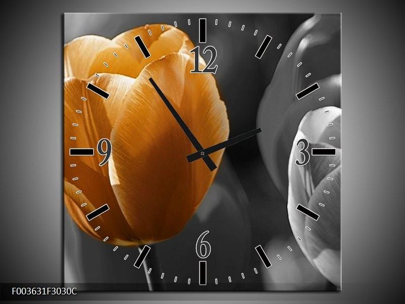 Wandklok op Canvas Tulp | Kleur: Geel, Oranje, Grijs | F003631C