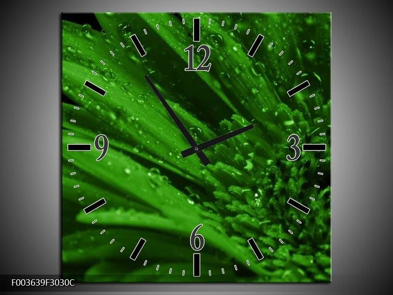 Wandklok op Canvas Gerber   Kleur: Groen, Zwart   F003639C