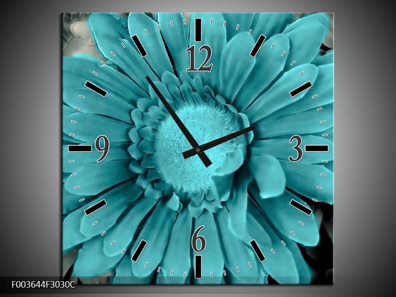 Wandklok op Canvas Gerbera | Kleur: Blauw, Grijs | F003644C