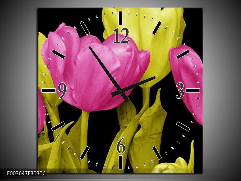 Wandklok op Canvas Tulp | Kleur: Roze, Geel, Zwart | F003647C