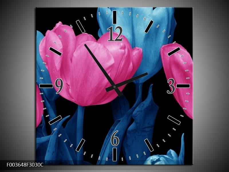Wandklok op Canvas Tulp   Kleur: Roze, Blauw, Zwart   F003648C