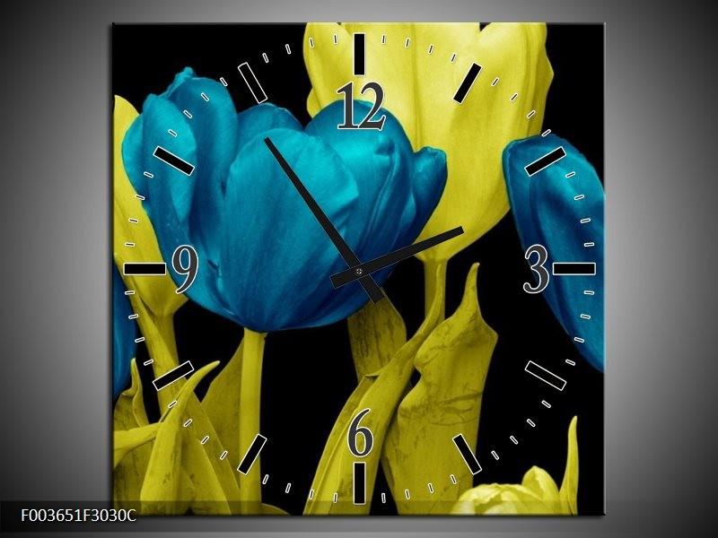 Wandklok op Canvas Tulp | Kleur: Blauw, Geel, Zwart | F003651C