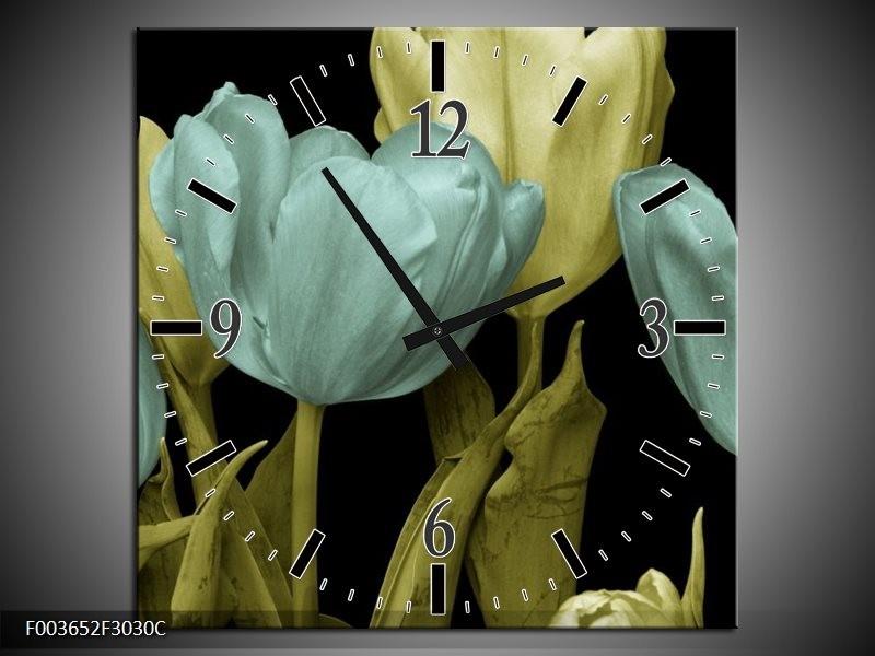 Wandklok op Canvas Tulp | Kleur: Blauw, Groen, Zwart | F003652C