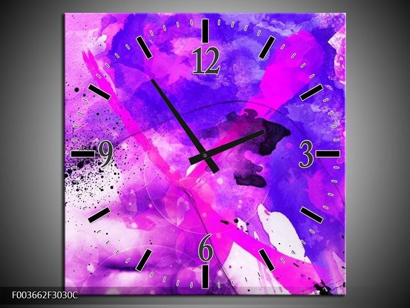 Wandklok op Canvas Abstract | Kleur: Paars, Roze, Wit | F003662C