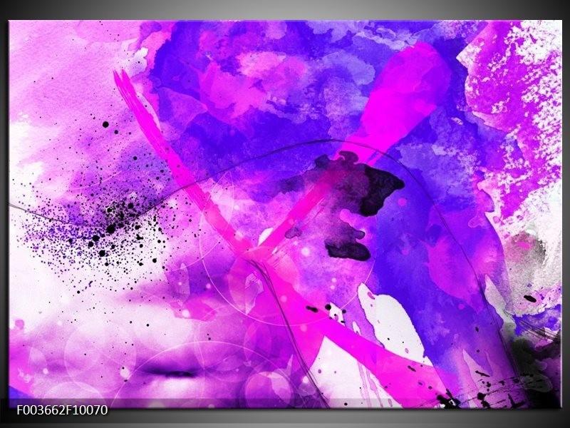 Glas schilderij Abstract | Paars, Roze, Wit