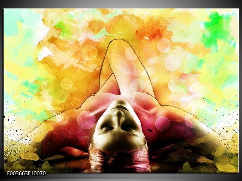 Glas schilderij Vrouw | Geel, Groen, Rood