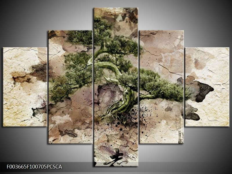 Canvas ART schilderij Bonsai | Groen, Wit | 100x70cm 5Luik