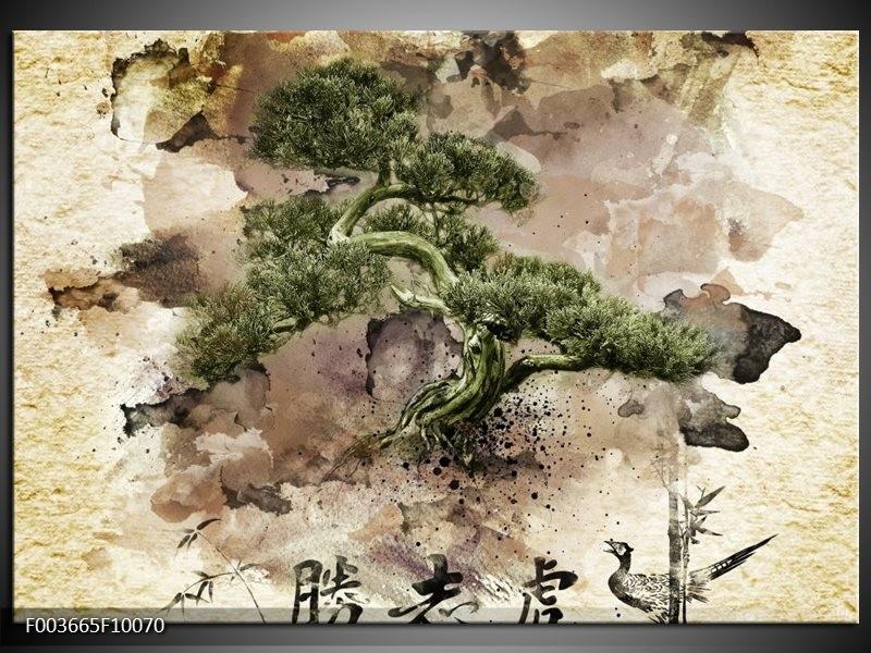 Glas schilderij Bonsai | Groen, Wit