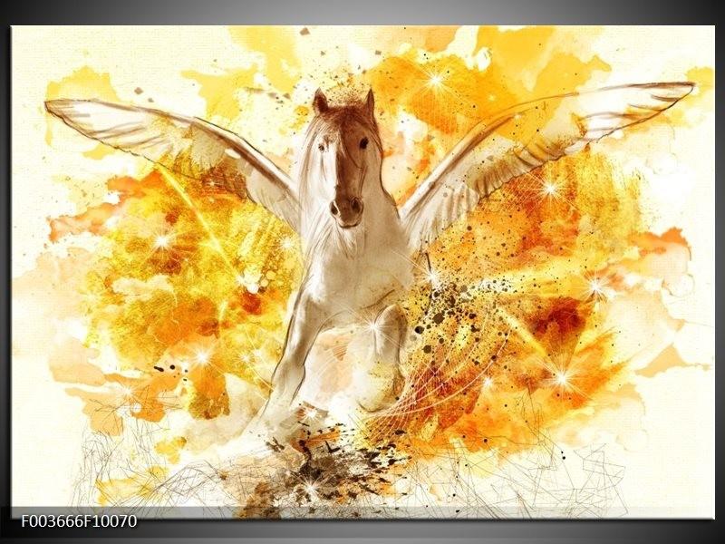 Glas schilderij Paard | Geel, Wit, Goud
