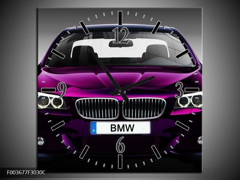 Wandklok op Canvas BMW | Kleur: Paars, Grijs, Zwart | F003677C
