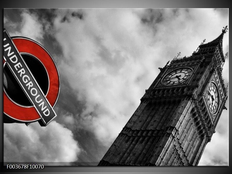 Glas schilderij Londen   Grijs, Zwart, Rood