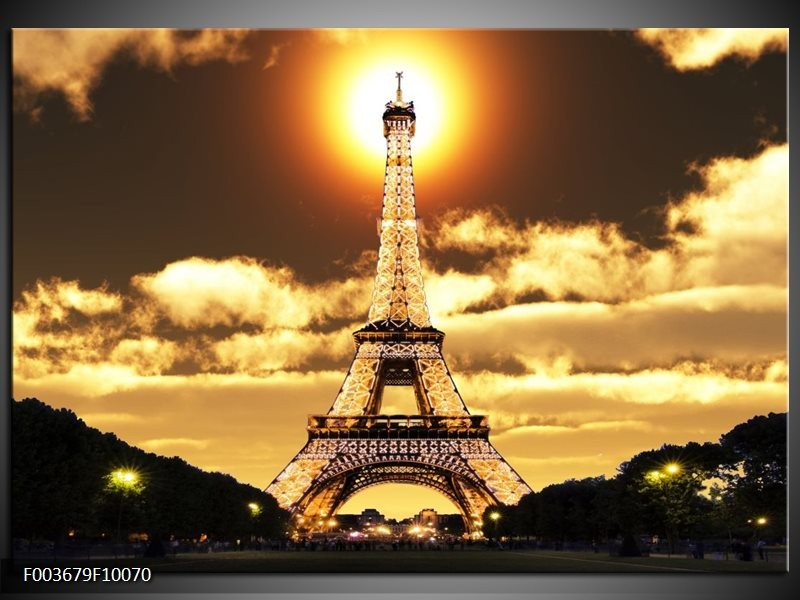 Glas schilderij Eiffeltoren | Geel, Goud, Zwart