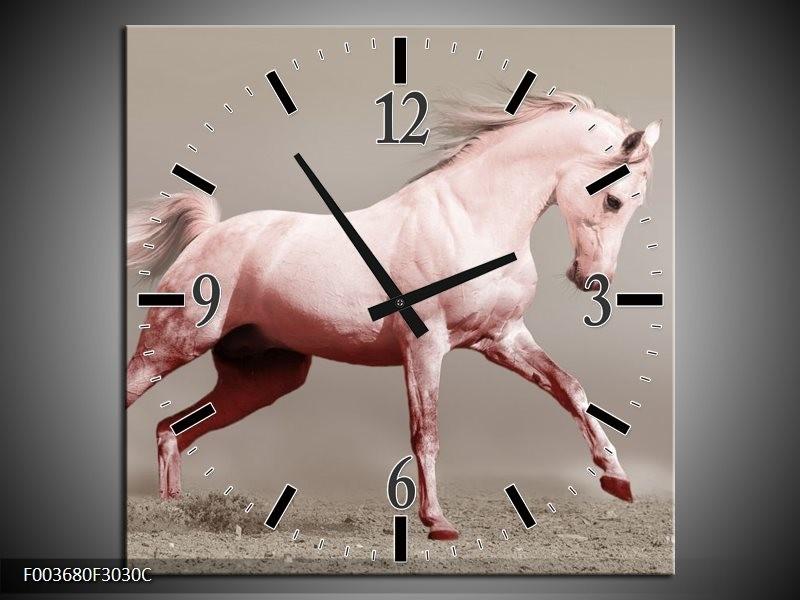 Wandklok op Canvas Paard | Kleur: Roze, Grijs | F003680C