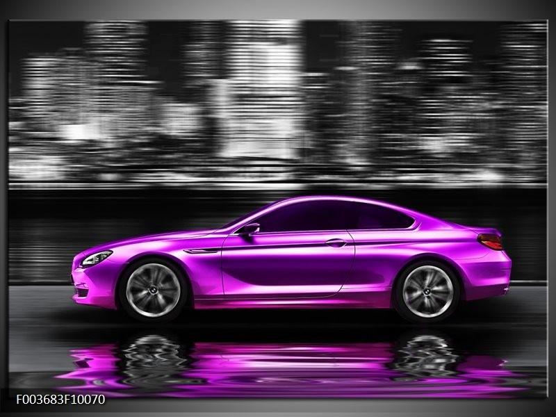 Glas schilderij Auto | Paars, Zwart