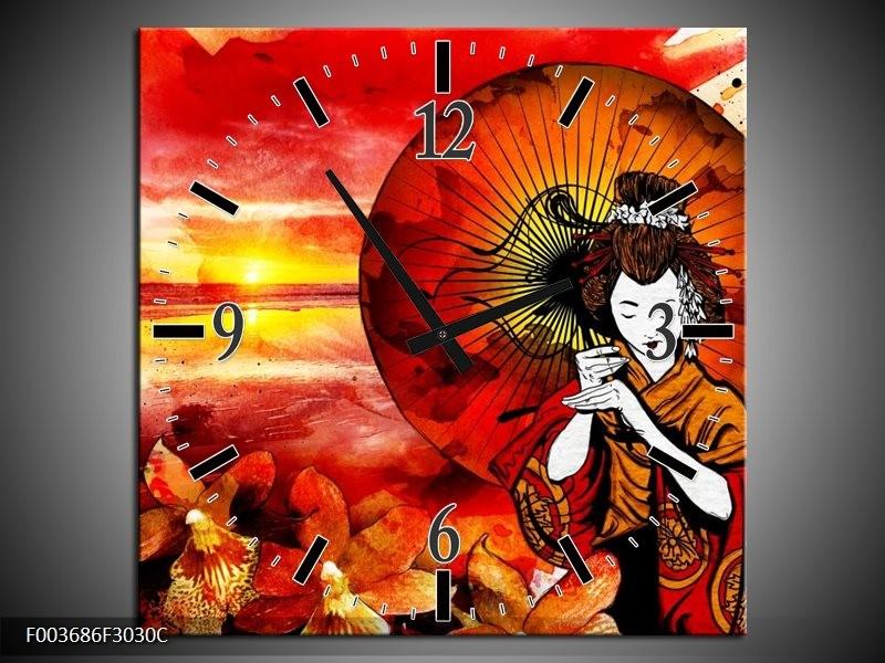 Wandklok op Canvas Abstract   Kleur: Rood, Geel, Zwart   F003686C