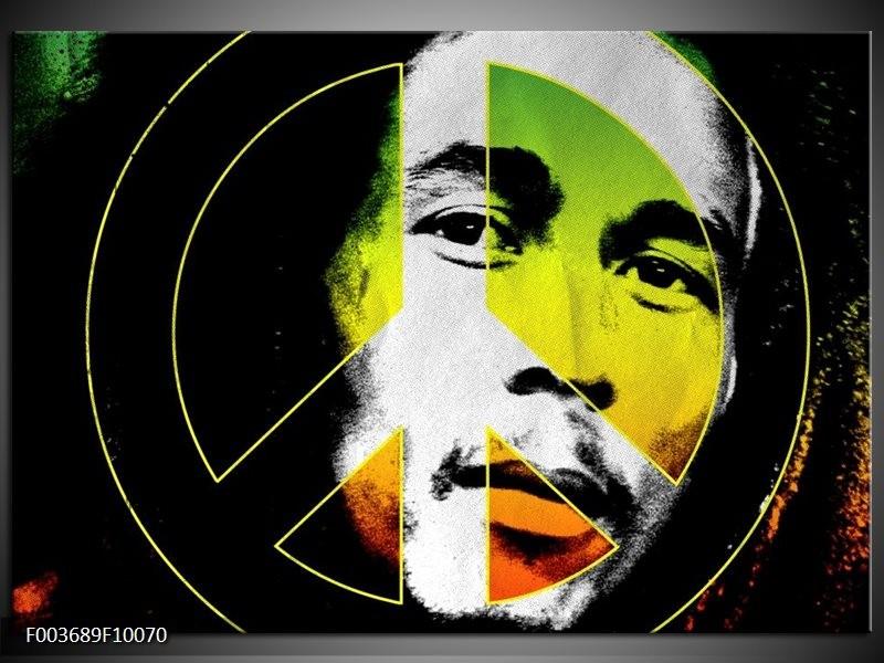 Glas schilderij Man   Groen, Zwart, Oranje