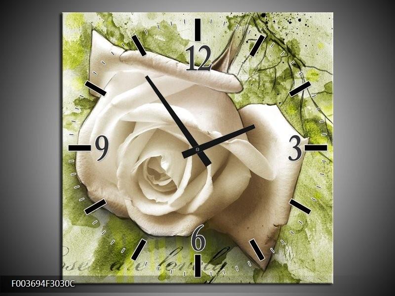 Wandklok op Canvas Roos | Kleur: Groen, Wit | F003694C
