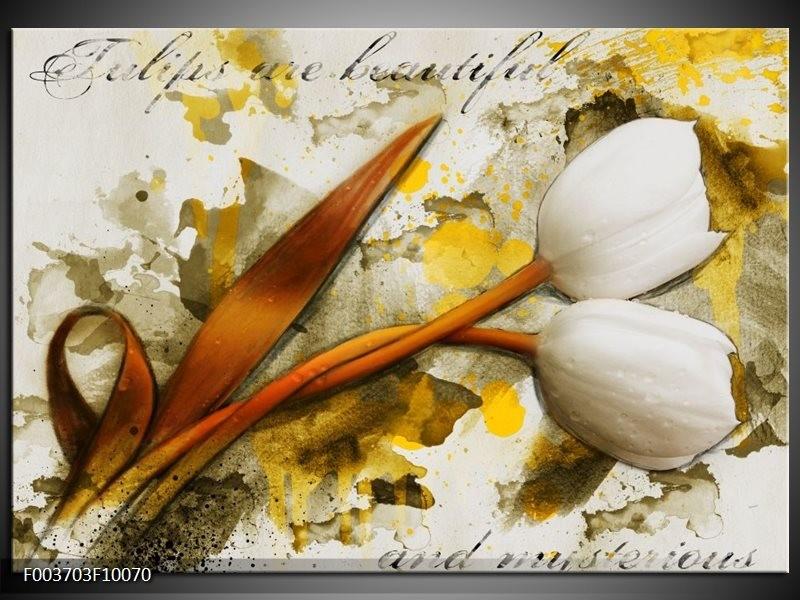 Glas schilderij Tulp | Wit, Bruin, Geel