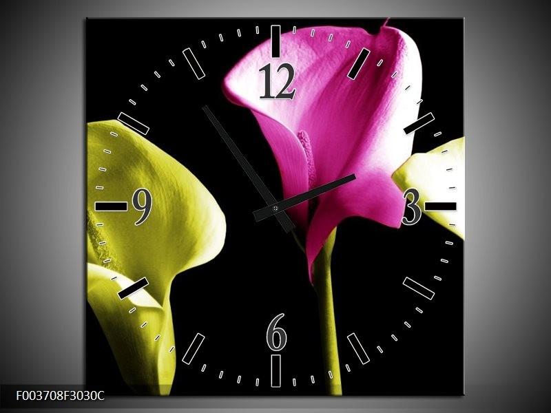 Wandklok op Canvas Bloem | Kleur: Groen, Roze, Zwart | F003708C