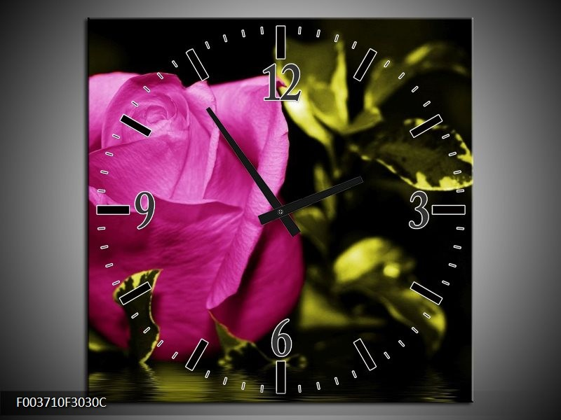 Wandklok op Canvas Roos | Kleur: Roze, Groen, Zwart | F003710C