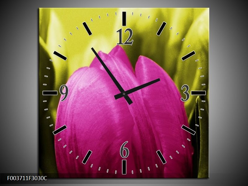 Wandklok op Canvas Tulp | Kleur: Roze, Groen | F003711C