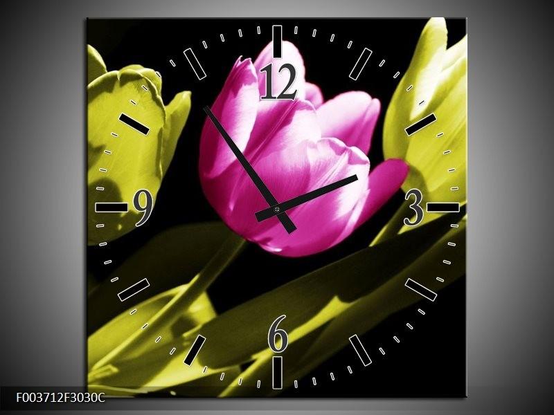 Wandklok op Canvas Tulp | Kleur: Paars, Groen, Zwart | F003712C