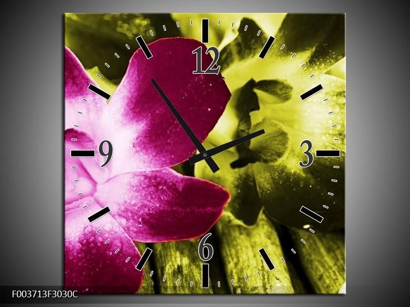 Wandklok op Canvas Bloem | Kleur: Roze, Groen, Wit | F003713C