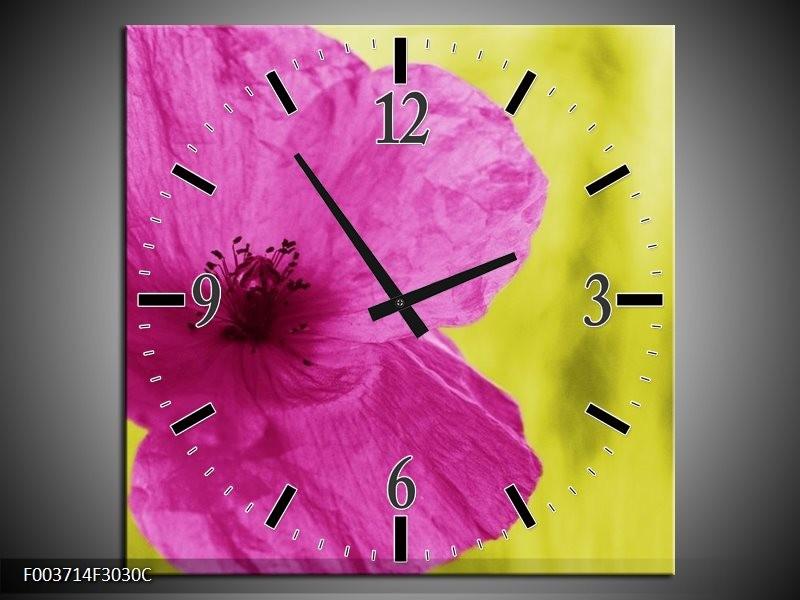Wandklok op Canvas Bloem | Kleur: Roze, Groen, Wit | F003714C