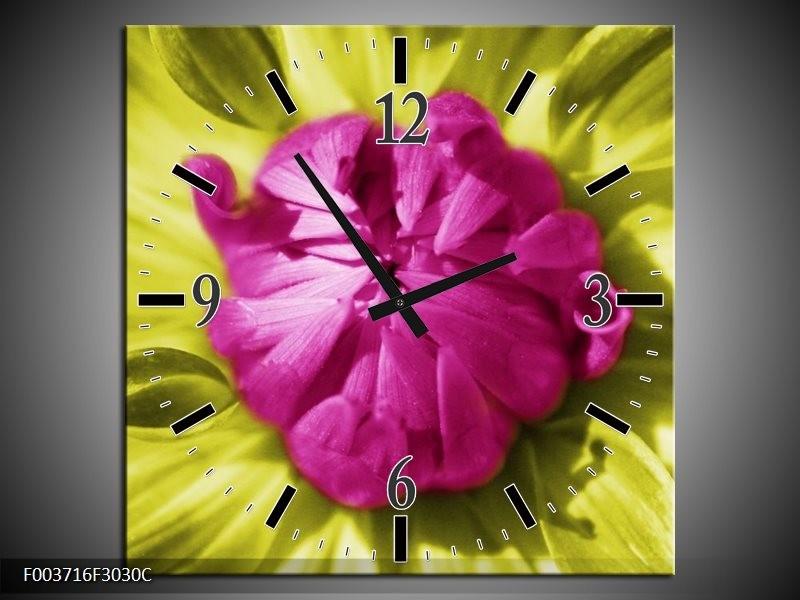 Wandklok op Canvas Macro | Kleur: Roze, Groen, Wit | F003716C