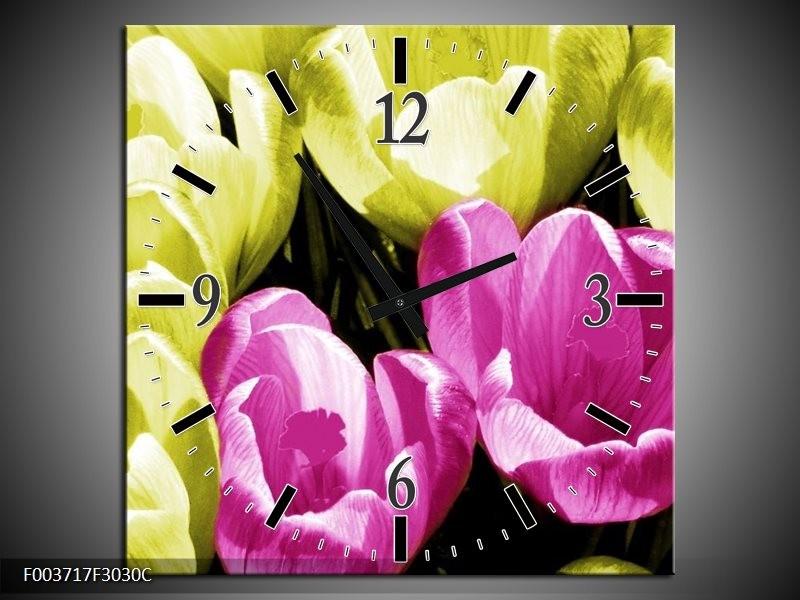 Wandklok op Canvas Krokus   Kleur: Roze, Groen, Wit   F003717C