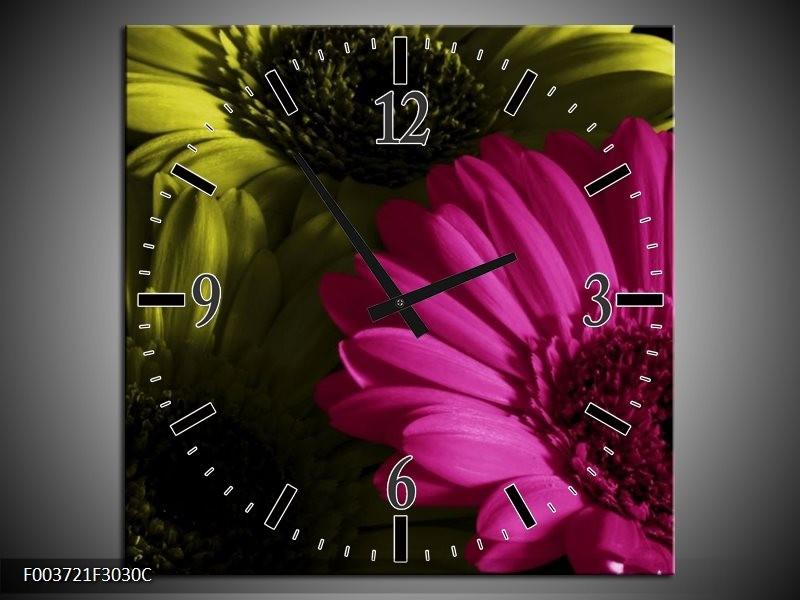 Wandklok op Canvas Bloem | Kleur: Roze, Groen, Wit | F003721C
