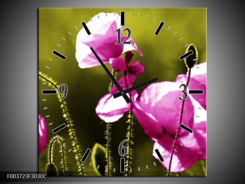 Wandklok op Canvas Klaproos   Kleur: Roze, Groen, Wit   F003723C