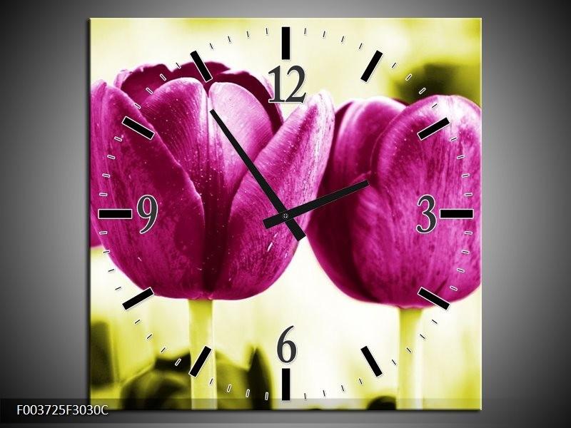Wandklok op Canvas Tulp | Kleur: Roze, Groen, Wit | F003725C