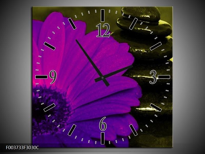 Wandklok op Canvas Bloem | Kleur: Paars, Groen, Wit | F003733C