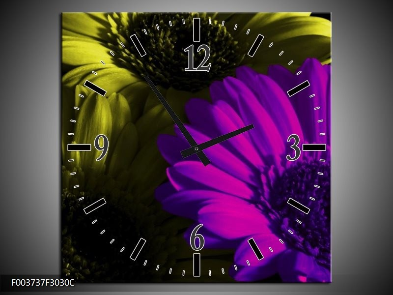 Wandklok op Canvas Tulp | Kleur: Paars, Groen, Wit | F003737C