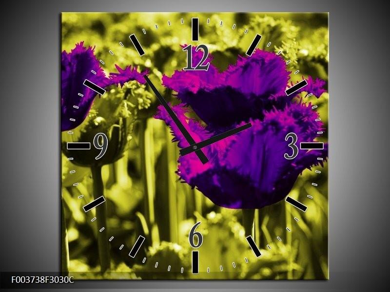 Wandklok op Canvas Tulp | Kleur: Paars, Groen, Wit | F003738C