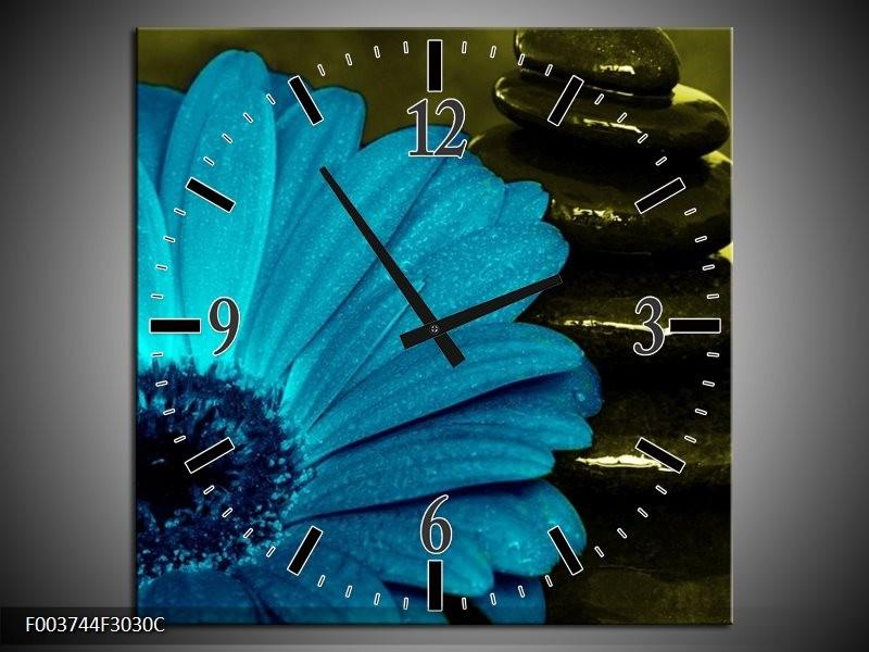 Wandklok op Canvas Bloem   Kleur: Blauw, Zwart, Groen   F003744C