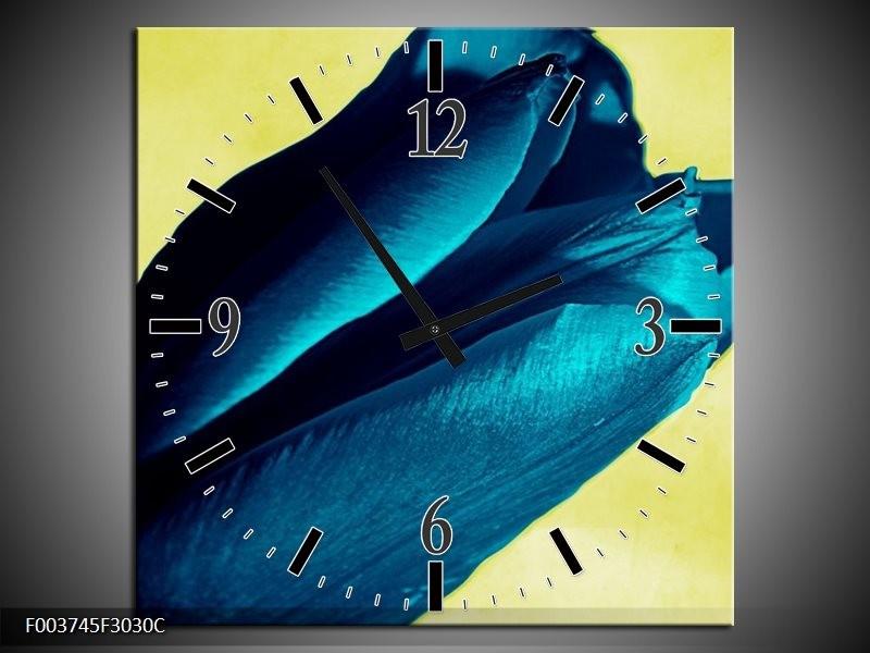 Wandklok op Canvas Tulp | Kleur: Blauw, Zwart, Groen | F003745C