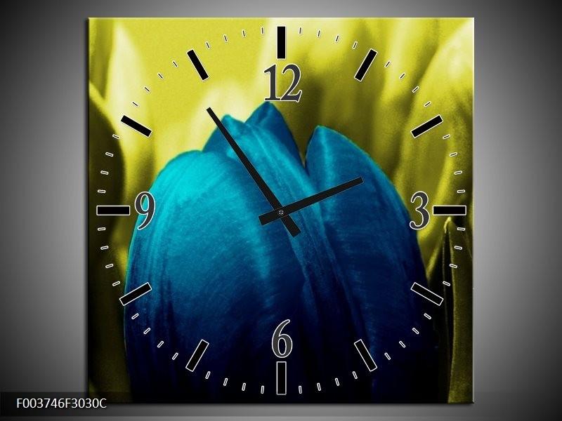 Wandklok op Canvas Tulp   Kleur: Blauw, Zwart, Groen   F003746C