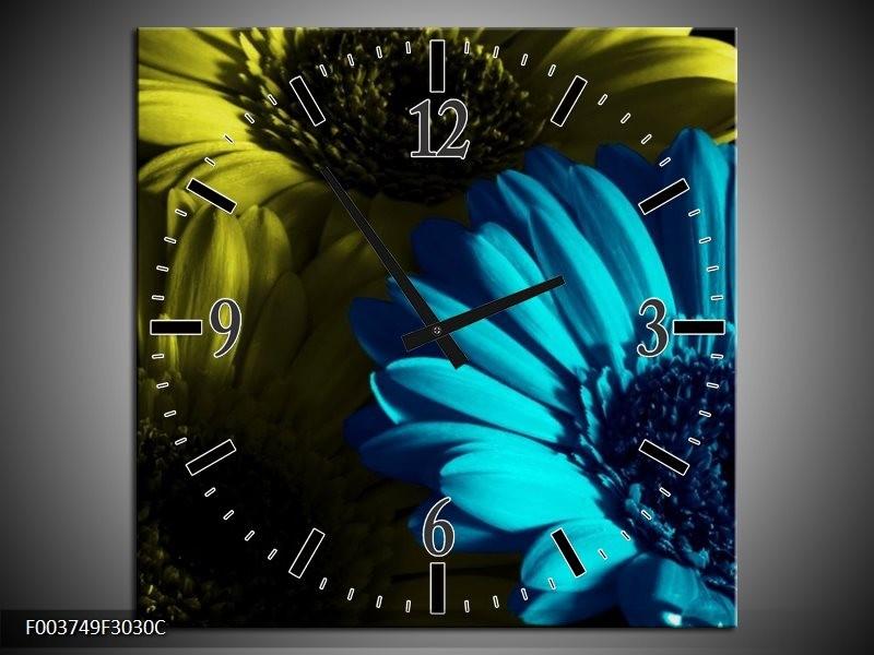 Wandklok op Canvas Bloem | Kleur: Blauw, Zwart, Groen | F003749C