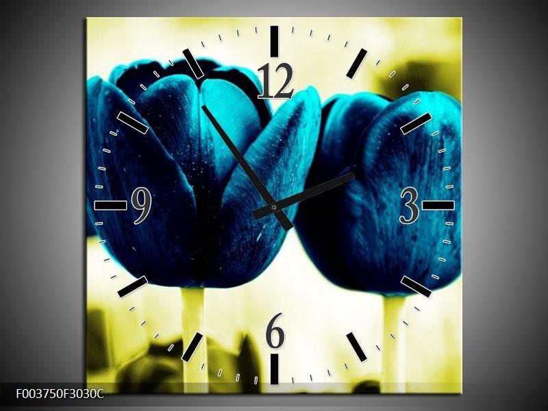 Wandklok op Canvas Tulp | Kleur: Blauw, Zwart, Groen | F003750C