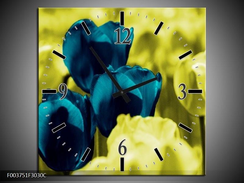 Wandklok op Canvas Tulp   Kleur: Blauw, Zwart, Groen   F003751C