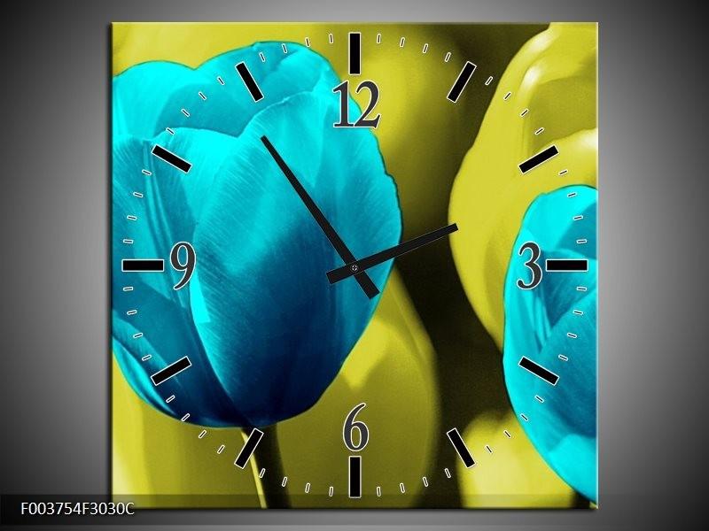 Wandklok op Canvas Tulp | Kleur: Blauw, Zwart, Groen | F003754C